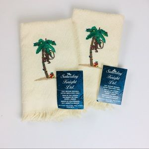 NWT Lot of 2 Christmas Monkey Finger Tip Towels